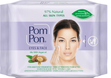 PomPon make up remover wipes all skin types with argan oil