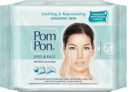 PomPon make up remover wipes all skin types with ceramides, sensitive skin