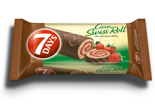 7days swiss roll strawberry coated