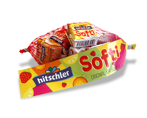 softi chewy candy cubes in net