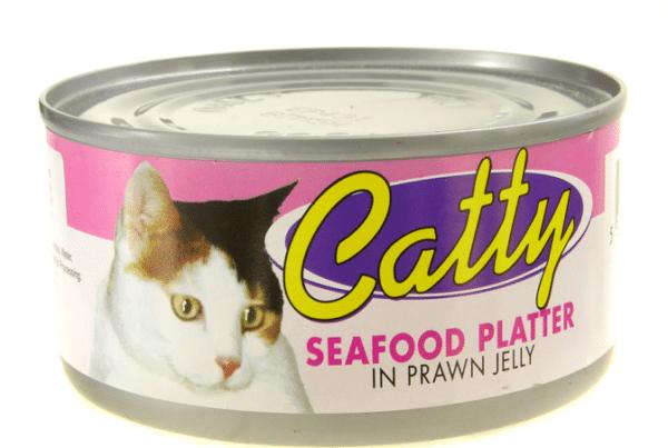 catty pet food seafood platter